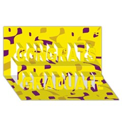 Yellow And Purple Pattern Congrats Graduate 3d Greeting Card (8x4) by Valentinaart