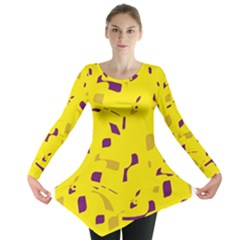 Yellow and purple pattern Long Sleeve Tunic  by Valentinaart