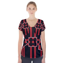 Red and black geometric pattern Short Sleeve Front Detail Top by Valentinaart