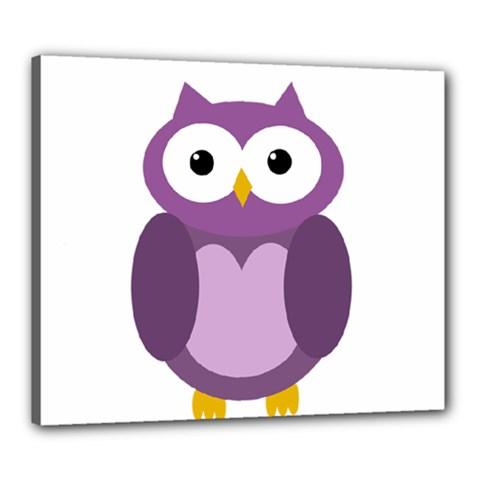 Purple Transparetn Owl Canvas 24  X 20  by Valentinaart