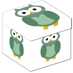 Green Cute Transparent Owl Storage Stool 12   by Valentinaart