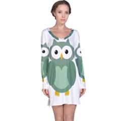 Green cute transparent owl Long Sleeve Nightdress by Valentinaart