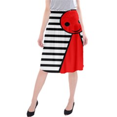 Red Pawn Midi Beach Skirt