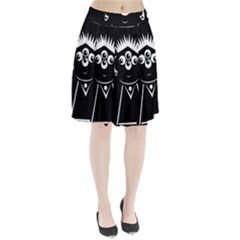 Black and white voodoo man Pleated Skirt by Valentinaart