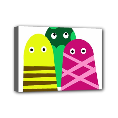 Three Mosters Mini Canvas 7  X 5  by Valentinaart
