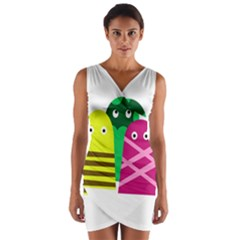Three Mosters Wrap Front Bodycon Dress by Valentinaart
