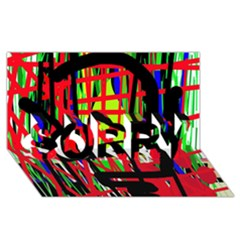 Colorful abstraction SORRY 3D Greeting Card (8x4) by Valentinaart