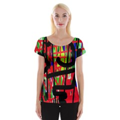 Colorful Abstraction Women s Cap Sleeve Top by Valentinaart