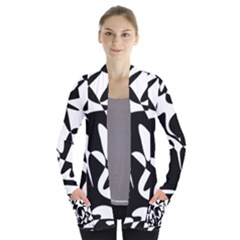 Black and white elegant pattern Women s Open Front Pockets Cardigan(P194) by Valentinaart