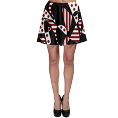 Red, Black And White Abstraction Skater Skirt by Valentinaart