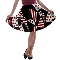 Red, Black And White Abstraction A Line Skater Skirt by Valentinaart