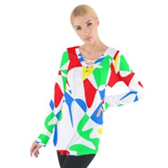 Colorful abstraction Women s Tie Up Tee by Valentinaart