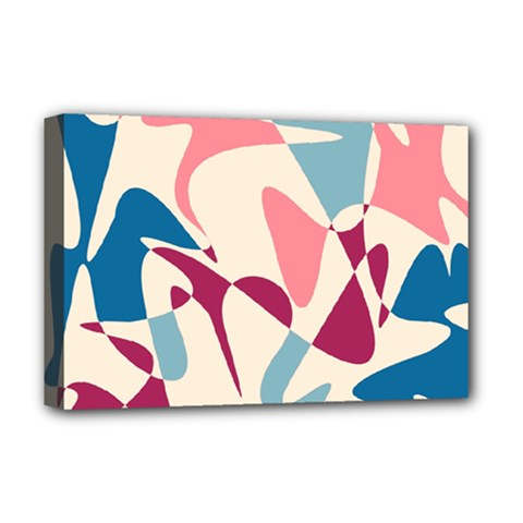 Blue, Pink And Purple Pattern Deluxe Canvas 18  X 12   by Valentinaart