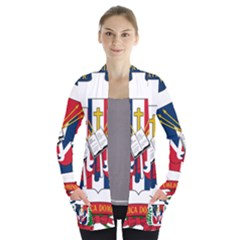 Coat Of Arms Of The Dominican Republic Women s Open Front Pockets Cardigan(P194) by abbeyz71