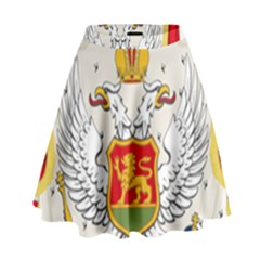 Coat Of Arms Of Kingdom Of Montenegro, 1910 1918 High Waist Skirt by abbeyz71