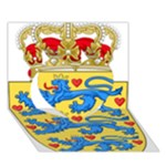 National Coat Of Arms Of Denmark Heart 3D Greeting Card (7x5)