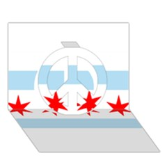 Flag Of Chicago Peace Sign 3d Greeting Card (7x5) by abbeyz71