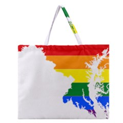Lgbt Flag Map Of Maryland  Zipper Large Tote Bag