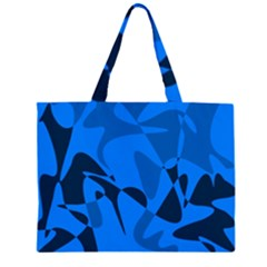 Blue Pattern Zipper Large Tote Bag by Valentinaart
