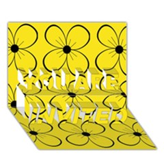 Yellow Floral Pattern You Are Invited 3d Greeting Card (7x5) by Valentinaart