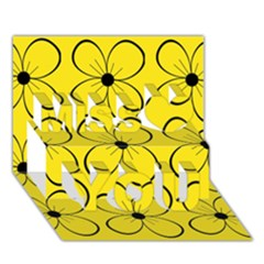 Yellow Floral Pattern Miss You 3d Greeting Card (7x5) by Valentinaart