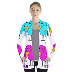 Colorful Birds Women s Open Front Pockets Cardigan(p194) by Valentinaart