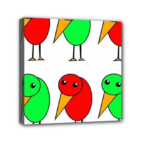 Green And Red Birds Mini Canvas 6  X 6  by Valentinaart