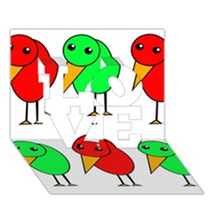 Green And Red Birds Love 3d Greeting Card (7x5) by Valentinaart