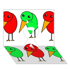 Green And Red Birds Ribbon 3d Greeting Card (7x5) by Valentinaart