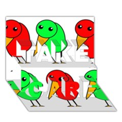 Green And Red Birds Take Care 3d Greeting Card (7x5) by Valentinaart