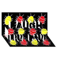 Red And Yellow Bugs Pattern Laugh Live Love 3d Greeting Card (8x4) by Valentinaart