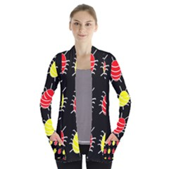 Red and yellow bugs pattern Women s Open Front Pockets Cardigan(P194) by Valentinaart