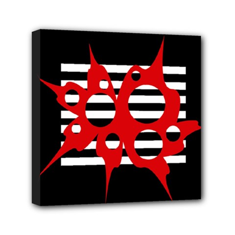 Red, black and white abstract design Mini Canvas 6  x 6