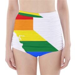 Lgbt Flag Map Of California High-Waisted Bikini Bottoms by abbeyz71