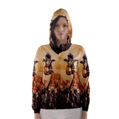 Funny, Cute Giraffe With Sunglasses And Flowers Hooded Wind Breaker (Women) by FantasyWorld7