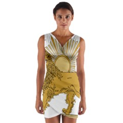 National Emblem Of Iran, Provisional Government Of Iran, 1979 1980 Wrap Front Bodycon Dress by abbeyz71