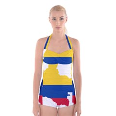 Flag Map Of Colombia Boyleg Halter Swimsuit  by abbeyz71