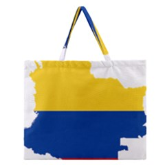 Flag Map Of Colombia Zipper Large Tote Bag by abbeyz71