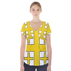 Jerusalem Cross Short Sleeve Front Detail Top by abbeyz71