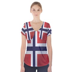 Flag Of Norway Short Sleeve Front Detail Top by artpics