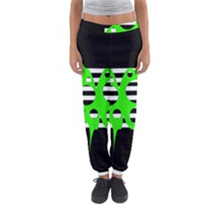 Green Abstract Design Women s Jogger Sweatpants by Valentinaart