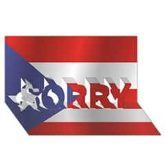 Flag Of Puerto Rico SORRY 3D Greeting Card (8x4) by artpics
