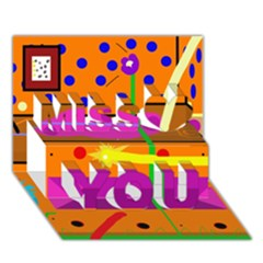 Orange Abstraction Miss You 3d Greeting Card (7x5) by Valentinaart