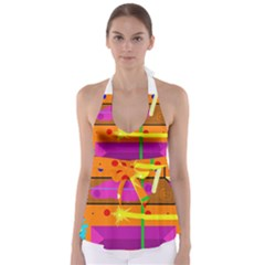 Orange abstraction Babydoll Tankini Top