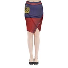 Flag Of Liechtenstein Midi Wrap Pencil Skirt by artpics