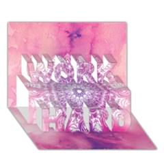 Pink Watercolour Mandala Work Hard 3d Greeting Card (7x5) by TanyaDraws