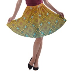 Ombre Fire And Water Pattern A Line Skater Skirt