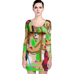 Abstract Animal Long Sleeve Velvet Bodycon Dress by Valentinaart