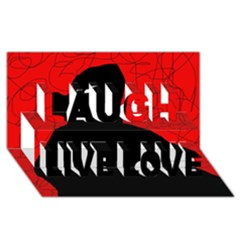 Red And Black Abstract Design Laugh Live Love 3d Greeting Card (8x4) by Valentinaart