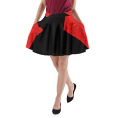 Red And Black Abstract Design A Line Pocket Skirt by Valentinaart